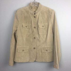 BNWOT LEATHER STYLE & CO TAN BLAZER SIZE LARGE
